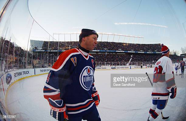 Kevin Lowe of the Edmonton Oilers skates from the corner in between plays against the Montreal Canadiens during the Molson Canadien Heritage Classic...