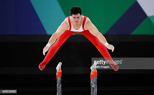 Kevin Lytwyn of Canada on the parallel bars in the Gymnastics Artistic final during day 9 of the 20th Commonwealth Games at the Scottish Exhibition...