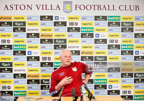 Kevin MacDonald caretaker manager of Aston Villa talks to the media during a press conference at the club's training ground at Bodymoor Heath on...