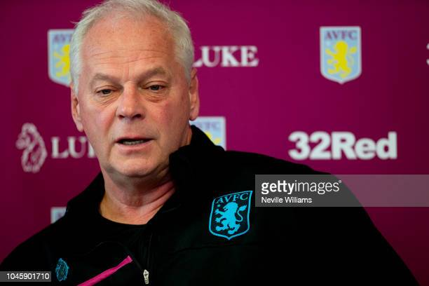 Kevin MacDonald caretaker manager of Aston Villa talks to the press during a press conference at the club's training ground at Bodymoor Heath on...