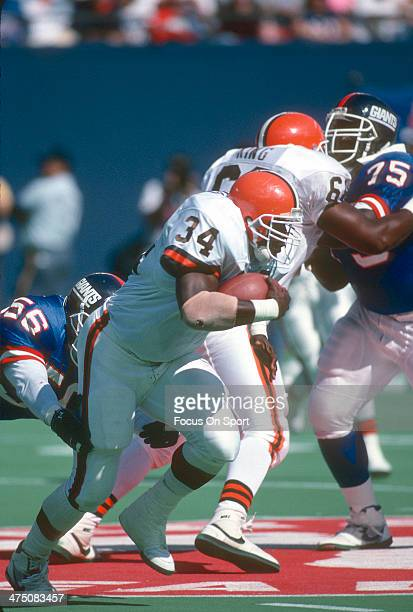 Kevin Mack of the Cleveland Browns carries the ball against the New York Giants during an NFL Football game September 22 1991 at The Meadowlands in...