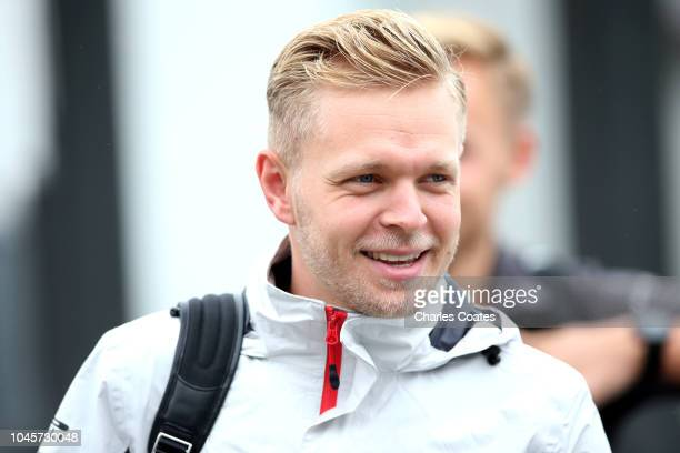 Kevin Magnussen of Denmark and Haas F1 arrives at the circuit before practice for the Formula One Grand Prix of Japan at Suzuka Circuit on October 5...