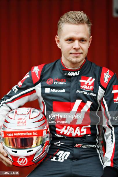 Kevin Magnussen of Denmark and Haas F1 at the roll out of the HaasFerrari VF17 in the Pitlane during day one of Formula One winter testing at Circuit...