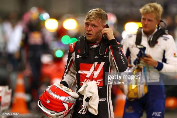 Kevin Magnussen of Denmark and Haas F1 in parc ferme during the Abu Dhabi Formula One Grand Prix at Yas Marina Circuit on November 26 2017 in Abu...