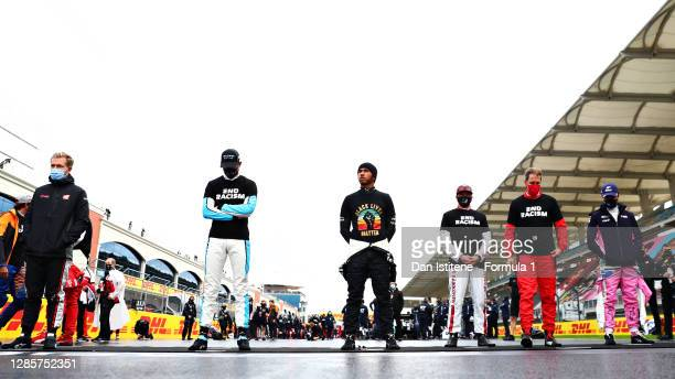 Kevin Magnussen of Denmark and Haas F1, Nicholas Latifi of Canada and Williams, Lewis Hamilton of Great Britain and Mercedes GP, Kimi Raikkonen of...