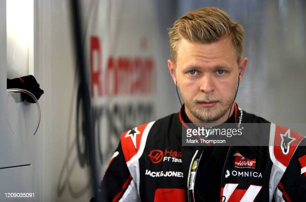 Kevin Magnussen of Denmark and Haas F1 prepares to drive in the garage during Day Two of F1 Winter Testing at Circuit de Barcelona-Catalunya on...