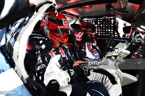 Kevin Magnussen of Denmark and Haas F1 prepares to drive the No.14 Haas Automation Ford Mustang in a demonstration run during previews ahead of the...