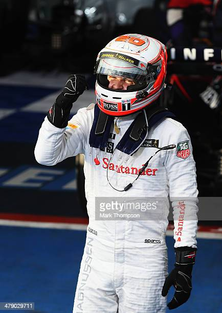 Kevin Magnussen of Denmark and McLaren celebrates in parc ferme after finishing third during the Australian Formula One Grand Prix at Albert Park on...