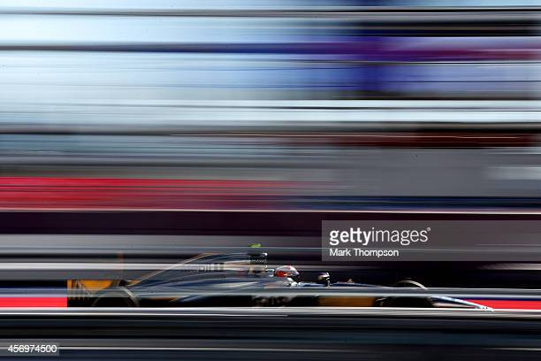 Kevin Magnussen of Denmark and McLaren drives during practice ahead of the Russian Formula One Grand Prix at Sochi Autodrom on October 10, 2014 in...