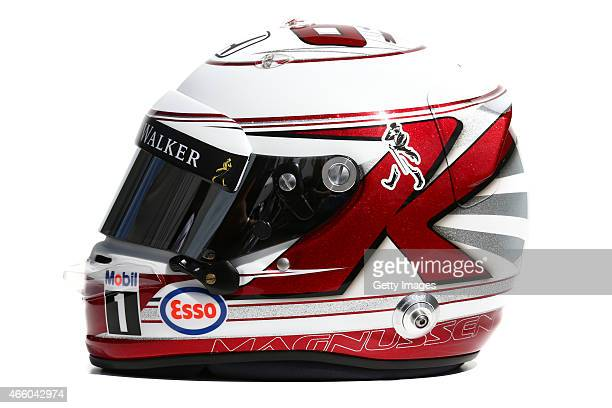 Kevin Magnussen of Denmark and McLaren Honda's Formula One race helmet on March 12 2015 in Melbourne Australia