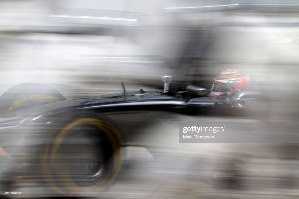 Kevin Magnussen of Denmark and McLaren makes a pit stop during the Hungarian Formula One Grand Prix at Hungaroring on July 27, 2014 in Budapest, Hungary.