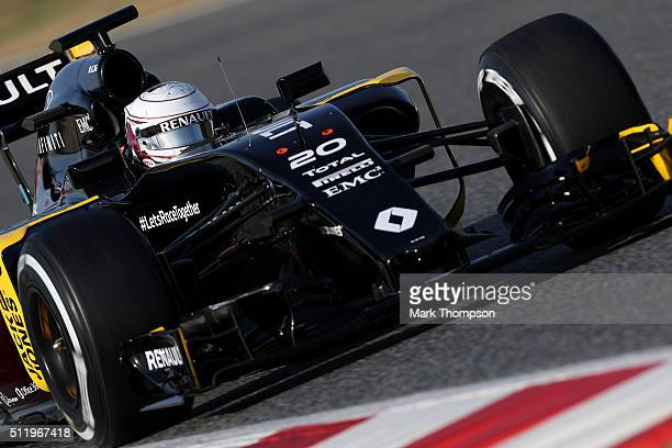 Kevin Magnussen of Denmark and Renault Sport drives during day three of F1 winter testing at Circuit de Catalunya on February 24 2016 in Montmelo...