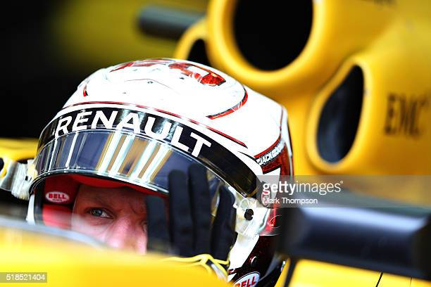 Kevin Magnussen of Denmark and Renault Sport F1 in the garage during practice for the Bahrain Formula One Grand Prix at Bahrain International Circuit...