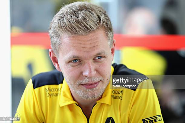 Kevin Magnussen of Denmark and Renault Sport F1 in the Paddock during previews for the Formula One Grand Prix of Brazil at Autodromo Jose Carlos Pace...