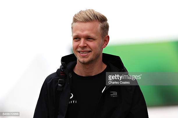 Kevin Magnussen of Denmark and Renault Sport F1 walks in the Paddock before final practice for the Formula One Grand Prix of Great Britain at...