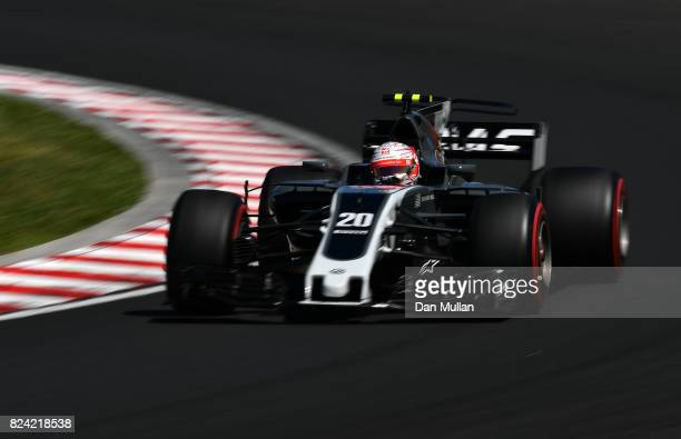 Kevin Magnussen of Denmark driving the Haas F1 Team HaasFerrari VF17 Ferrari on track during final practice for the Formula One Grand Prix of Hungary...