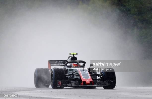 Kevin Magnussen of Denmark driving the Haas F1 Team VF18 Ferrari on track during qualifying for the Formula One Grand Prix of Hungary at Hungaroring...