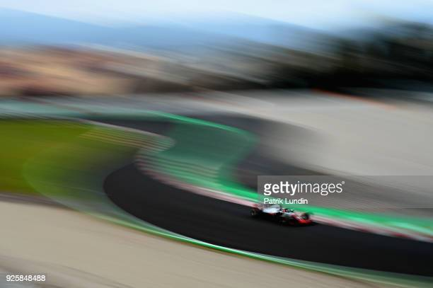 Kevin Magnussen of Denmark driving the Haas F1 Team VF18 Ferrari on track during day four of F1 Winter Testing at Circuit de Catalunya on March 1...