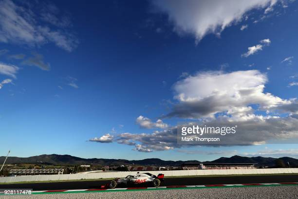 Kevin Magnussen of Denmark driving the Haas F1 Team VF18 Ferrari on track during day one of F1 Winter Testing at Circuit de Catalunya on March 6 2018...
