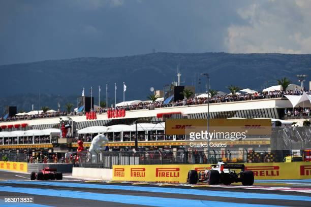 Kevin Magnussen of Denmark driving the Haas F1 Team VF18 Ferrari on track during the Formula One Grand Prix of France at Circuit Paul Ricard on June...