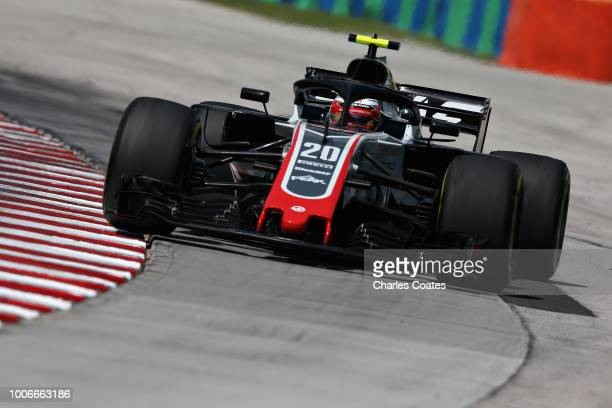 Kevin Magnussen of Denmark driving the Haas F1 Team VF18 Ferrari runs wide during final practice for the Formula One Grand Prix of Hungary at...