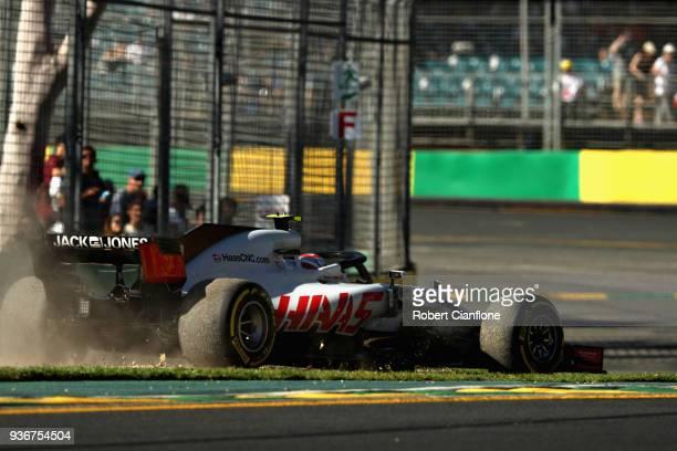 Kevin Magnussen of Denmark driving the Haas F1 Team VF18 Ferrari runs wide during practice for the Australian Formula One Grand Prix at Albert Park...
