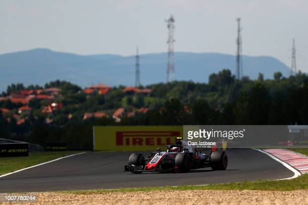 Kevin Magnussen of Denmark driving the Haas F1 Team VF18 Ferrari during the Formula One Grand Prix of Hungary at Hungaroring on July 29 2018 in...