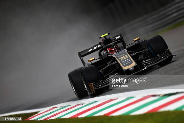 Kevin Magnussen of Denmark driving the Haas F1 Team VF-19 Ferrari on track during practice for the F1 Grand Prix of Italy at Autodromo di Monza on...