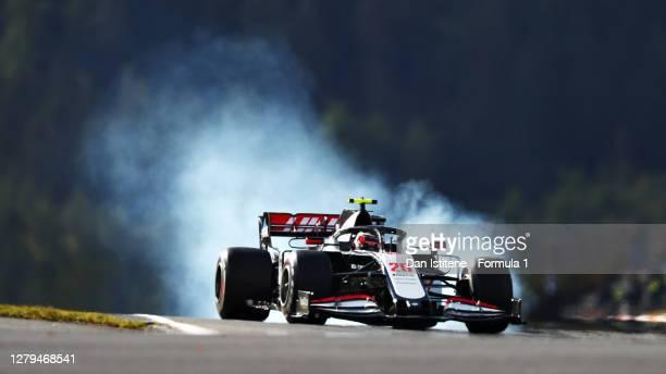 Kevin Magnussen of Denmark driving the Haas F1 Team VF-20 Ferrari locks a wheel under braking during final practice ahead of the F1 Eifel Grand Prix...