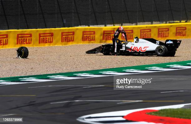 Kevin Magnussen of Denmark driving the Haas F1 Team VF-20 Ferrari spins off during the F1 Grand Prix of Great Britain at Silverstone on August 02,...
