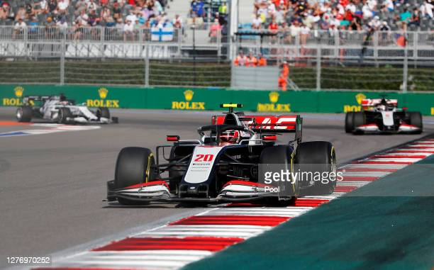Kevin Magnussen of Denmark driving the Haas F1 Team VF20 Ferrari on track during the F1 Grand Prix of Russia at Sochi Autodrom on September 27 2020...