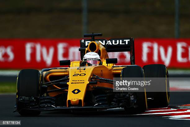 Kevin Magnussen of Denmark driving the Renault Sport Formula One Team Renault RS16 Renault RE16 turbo on track during practice for the Formula One...