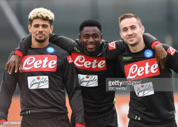 Kevin Malcuit Amadou Diawara Marko Rog during an SSC Napoli training session on December 1 2018 in Naples Italy