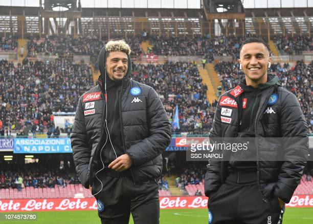 Kevin Malcuit and Adam Ounas of SSC Napoli smile ahead of the Serie A match between SSC Napoli and Spal at Stadio San Paolo on December 22 2018 in...