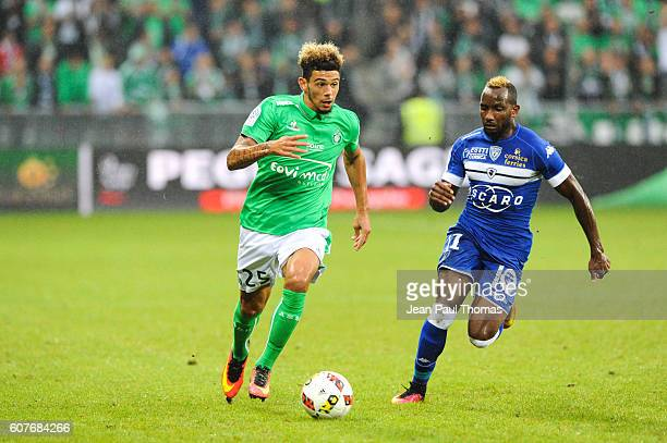 Kevin MALCUIT of Saint Etienne and Lenny NANGIS of Bastia during the Ligue 1 match between AS Saint Etienne and Bastia at Stade GeoffroyGuichard on...