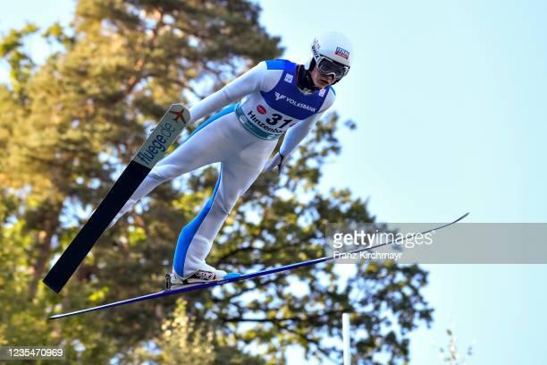 Kevin Maltsev of Estonia competes during the FIS Grand Prix Skijumping Hinzenbach at on February 6, 2021 in Eferding, Austria.