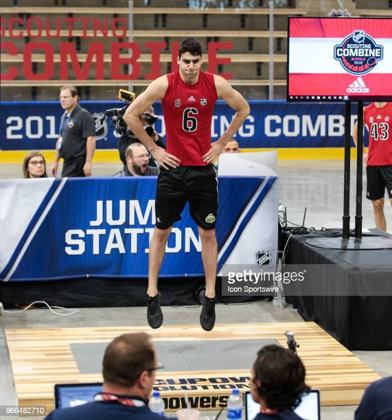 Kevin Mandolese completes the standing jump test during the NHL Scouting Combine on June 2 2018 at HarborCenter in Buffalo New York