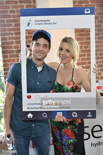Kevin Manno and Ali Fedotowsky attend the Colgate Optic White Beauty Bar Ð Day 2 at Hudson Loft on February 14 2016 in Los Angeles California