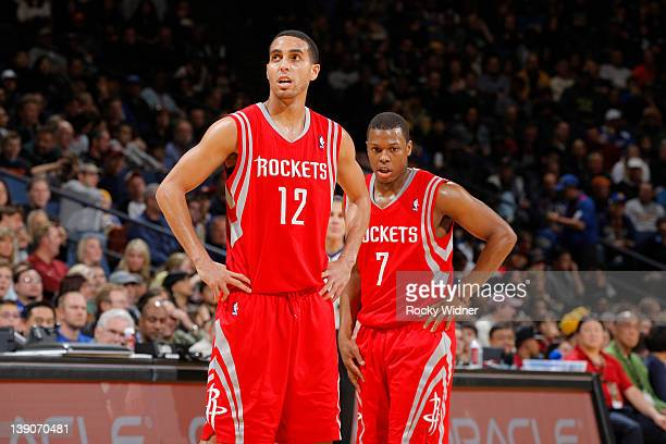 Kevin Martin and Kyle Lowry of the Houston Rockets play in a game against the Golden State Warriors on February 12 2012 at Oracle Arena in Oakland...
