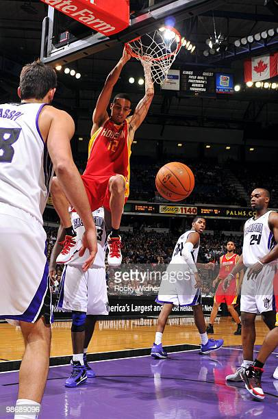 Kevin Martin of the Houston Rockets dunks during the game against the Sacramento Kings at Arco Arena on April 12 2010 in Sacramento California The...