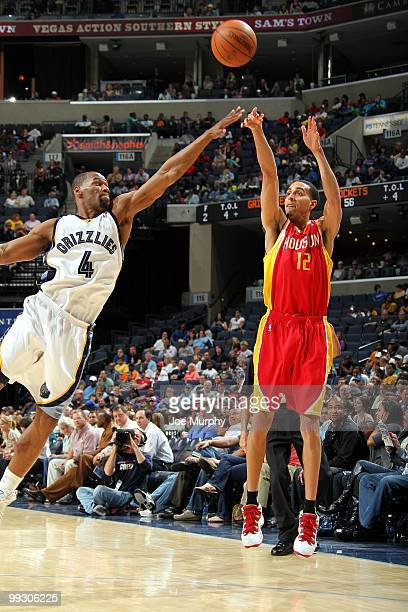 Kevin Martin of the Houston Rockets makes a jumpshot against Sam Young of the Memphis Grizzlies during the game at the FedExForum on April 6 2010 in...