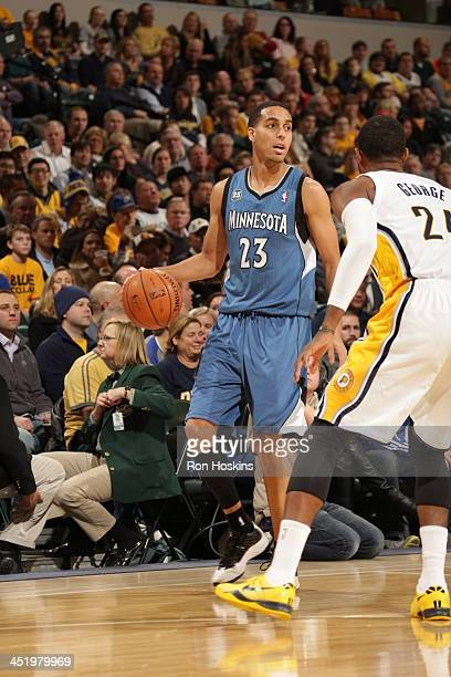 Kevin Martin of the Minnesota Timberwolves controls the ball against the Indiana Pacers at Bankers Life Fieldhouse on November 25 2013 in...
