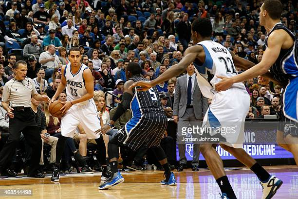Kevin Martin of the Minnesota Timberwolves defends the ball against the Orlando Magic during the game on April 3 2015 at American Airlines Center in...