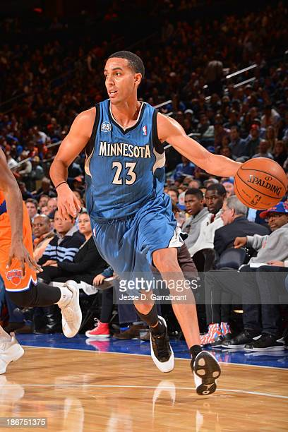 Kevin Martin of the Minnesota Timberwolves drives to the basket against the New York Knicks on November 3 2013 at Madison Square Garden in New York...