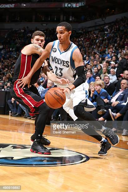 Kevin Martin of the Minnesota Timberwolves drives to the basket against the Miami Heat on November 5 2015 at Target Center in Minneapolis Minnesota...