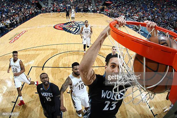 Kevin Martin of the Minnesota Timberwolves dunks the ball against the New Orleans Pelicans on January 19 2016 at Smoothie King Center in New Orleans...