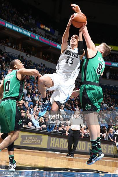 Kevin Martin of the Minnesota Timberwolves goes to the basket against Jonas Jerebko of the Boston Celtics on February 22 2016 at Target Center in...