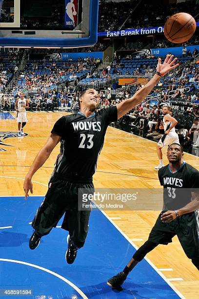 Kevin Martin of the Minnesota Timberwolves grabs a rebound against the Orlando Magic on November 7 2014 at Amway Center in Orlando Florida NOTE TO...