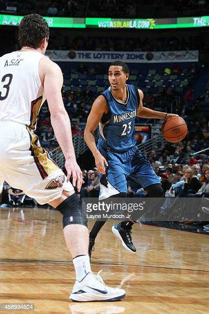Kevin Martin of the Minnesota Timberwolves handles the ball against the New Orleans Pelicans on November 14 2014 at the Smoothie King Center in New...