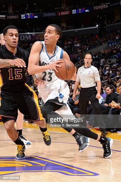 Kevin Martin of the Minnesota Timberwolves handles the ball against the Los Angeles Lakers on April 10 2015 at STAPLES Center in Los Angeles...